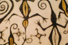 Tribal-Geckos-painting-pencil-emily-dewsnap-art