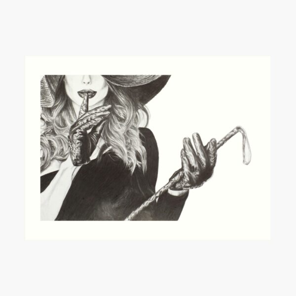 shush-pencil-drawing-lady-with-a-whip-emily-Dewsnap