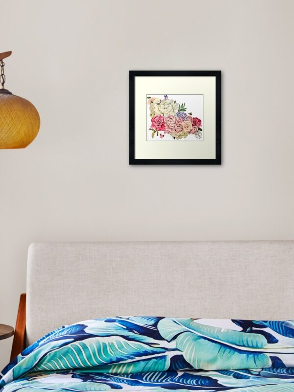 bouquet-of-flowers-framed-hung