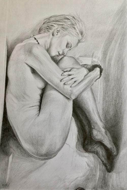 Phoetal-fetal-position-pencil-drawing-emily-dewsnap