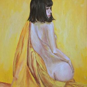 all-yellow-girl-in-yellow-silk-original-art-yorkshire-emily-dewsnap