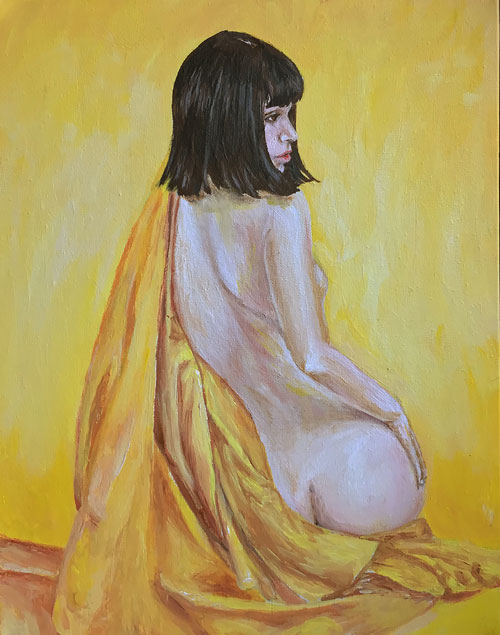 all-yellow-girl-in-yellow-silk-original-art-yorkshire-emily-dewsnap
