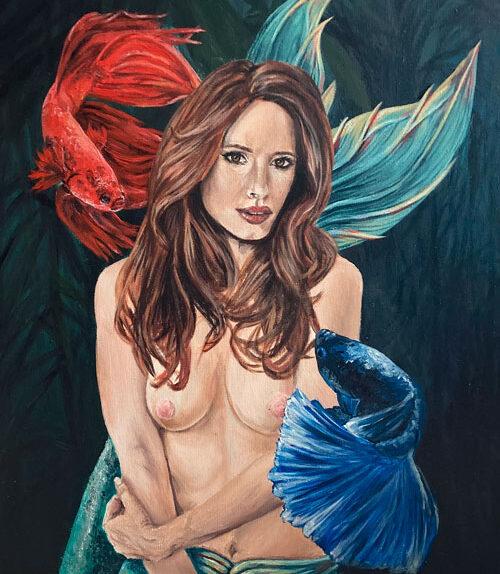 fighter-mermaid-painting-original-art-yorkshire-emily-dewsnap
