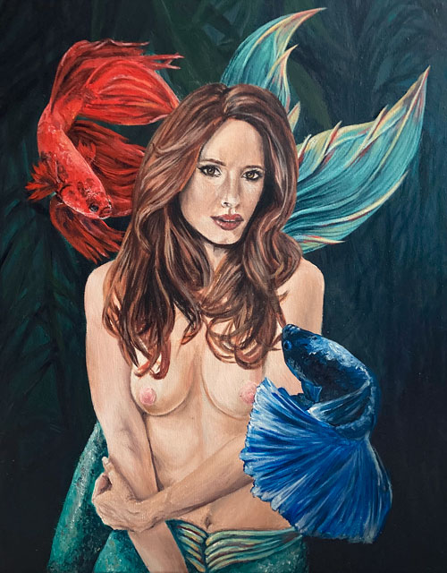 fighter-mermaid-painting-original-art-yorkshire-emily-dewsnap
