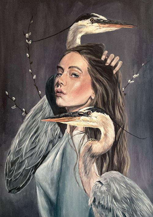 tranquillity-original-heron-painting-emily-dewsnap-art-yorkshire