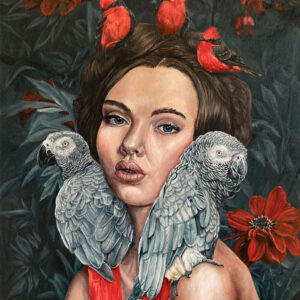 joy-african-grey-parrot-painting-vermilion-flycatcher-emily-dewsnap